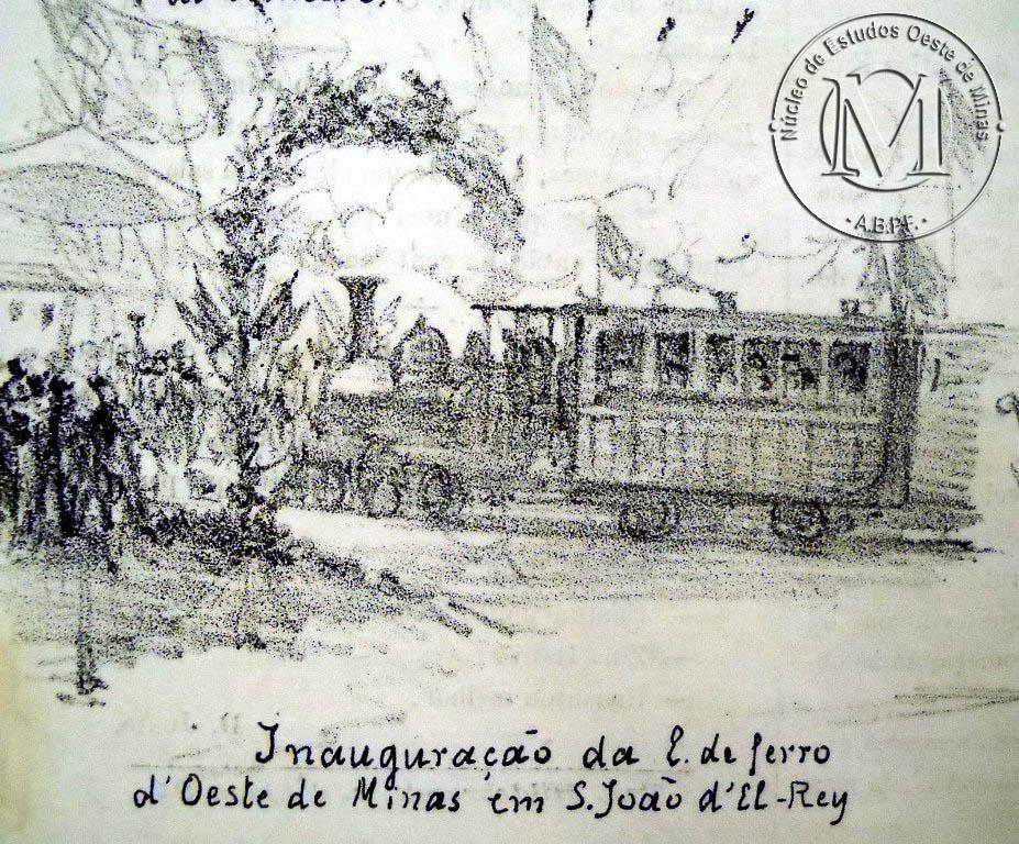 Litografia feita em 1881, por-Angêlo Agostini, para comemorar a inauguração da Estação Ferroviária. Mostra o trem chegando na estação, decorada com um arco do triunfo, com populares aguardando a corte desembargar.